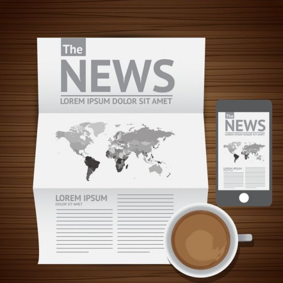 وکتور قهوه و خبر coffee and news vector