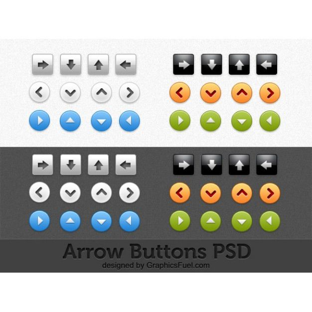 دکمه arrow buttons psd pack