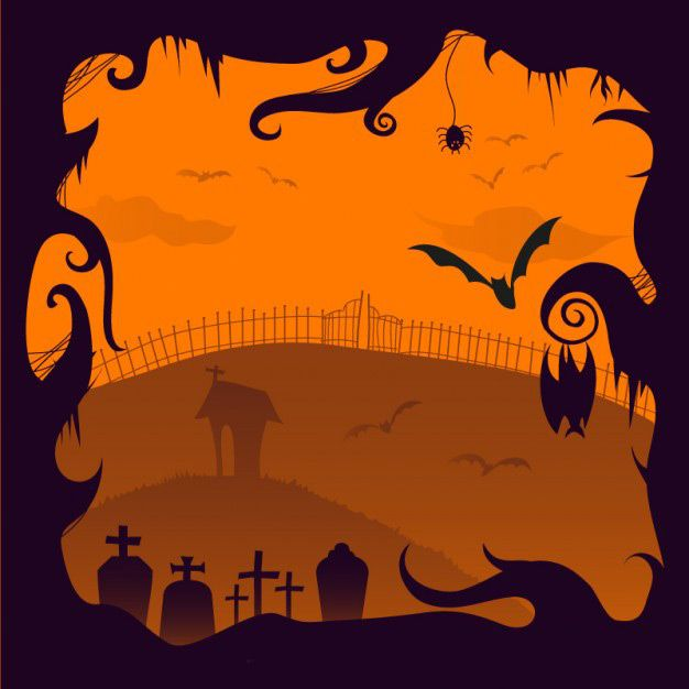 وکتور هالووین halloween creepy cemetery illustration