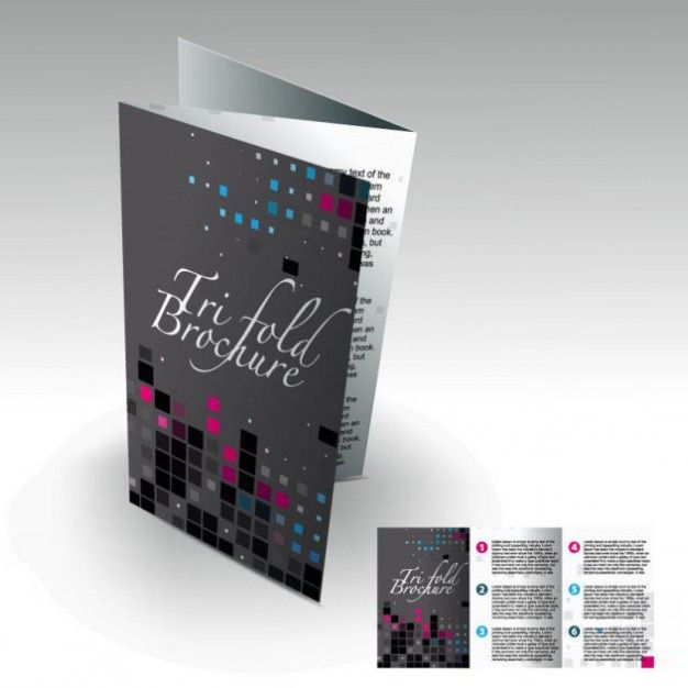 قالب بروشور _black triptych brochure template with squares