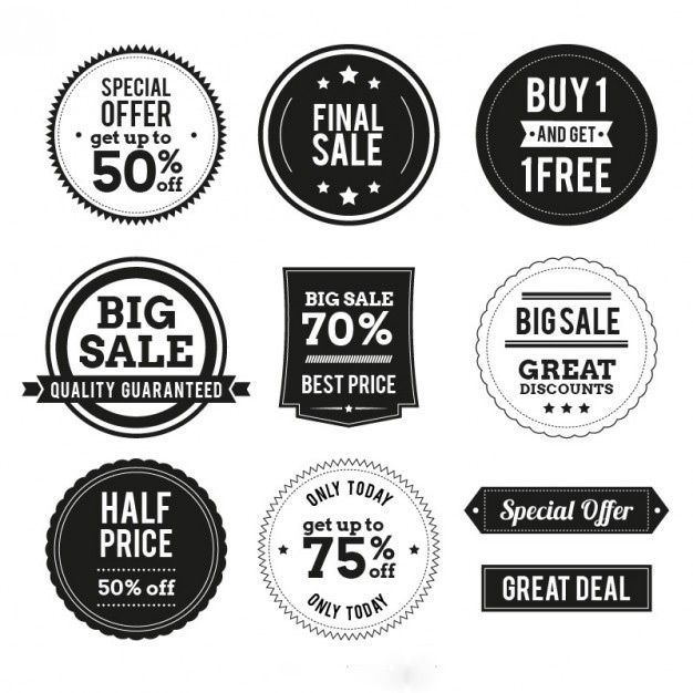 وکتور لیبل shopping badges