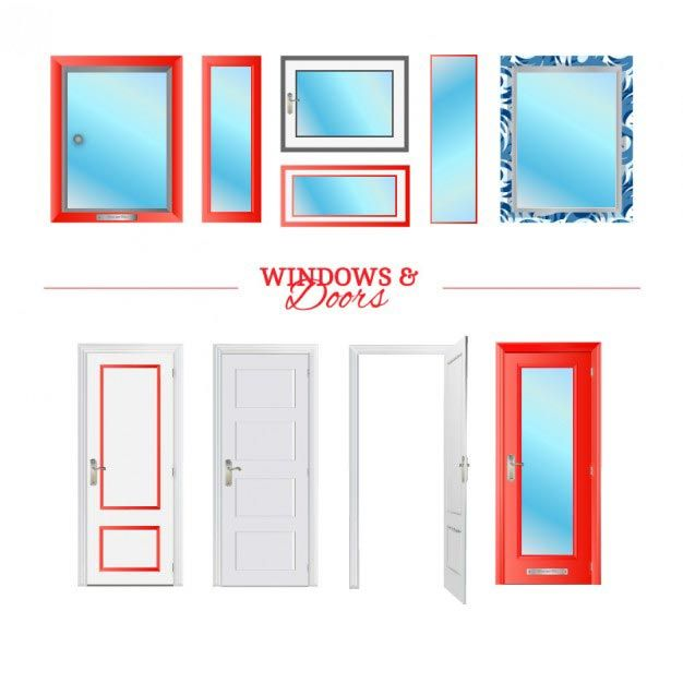 وکتور درب و پنجره Doors and windows vector elements