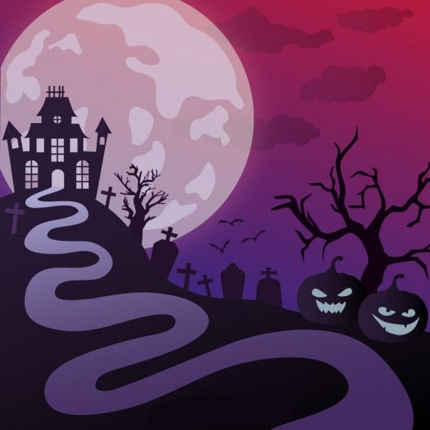 وکتور شب های هالووین halloween haunted castle illustration