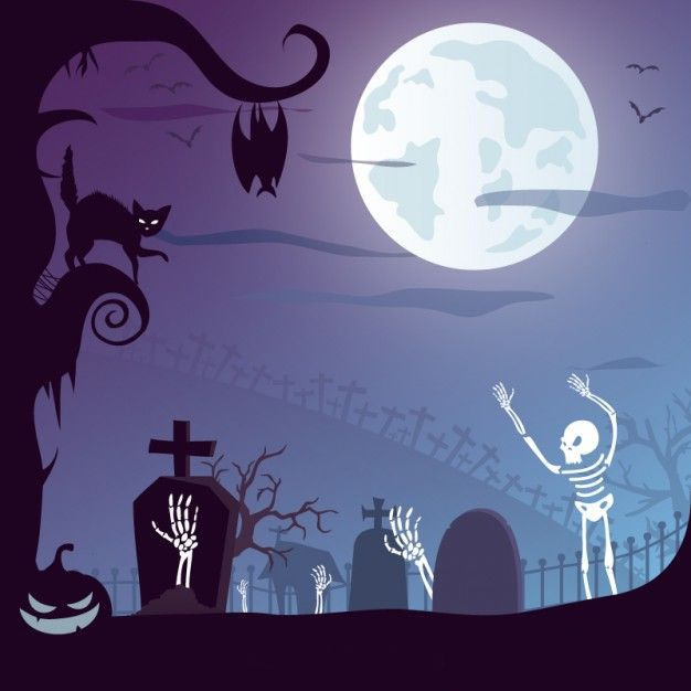 وکتور شب هالووین halloween graveyard vector design