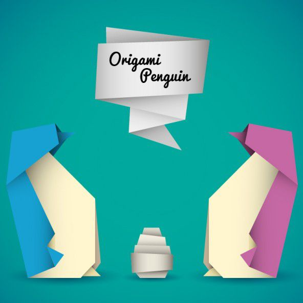 وکتور اریگامی پنگوئن origami penguins vector