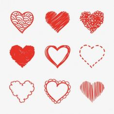 آیکون قلب heart sketches vector pack