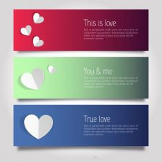 وکتور بنر عاشقانه love and hearts banner templates