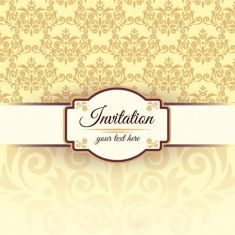 وکتور پترن گل invitation template with damask pattern
