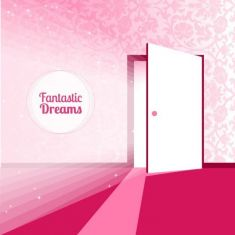 وکتور درب باز قرمز Fantasy door for dreams vector illustration