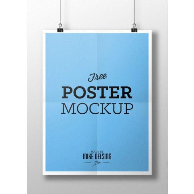موکاپ پوستر blue poster mockup psd